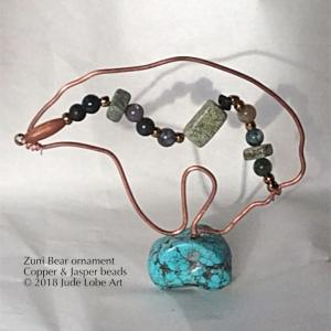 Wired bear w/beads & turquoise