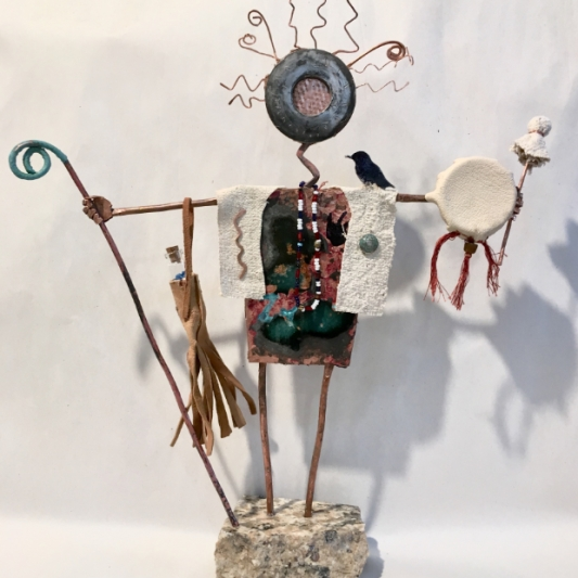 Shaman with drum and crow